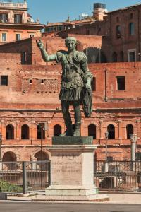 Bronze statue of emperor Caesar, Imperial Forums, Rome.