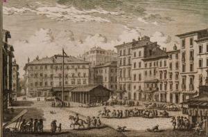 Campo de' Fiori in the 1740s,by Giuseppe Vasi.