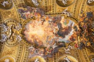 Chorus of Basilica Il Gesu, Rome, Italy. Ceiling view