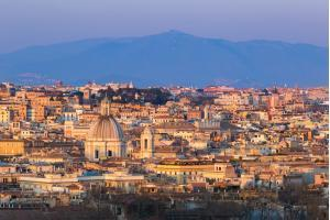 Cityscape of Rome, Italy, at sunset in autumn, a view from the Gianicolo (Janiculum) hill