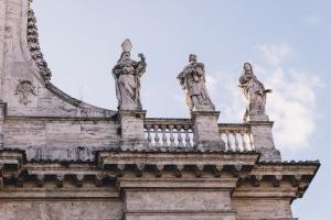 Closeup of statues on San Giovanni dei Fiorentini Church.