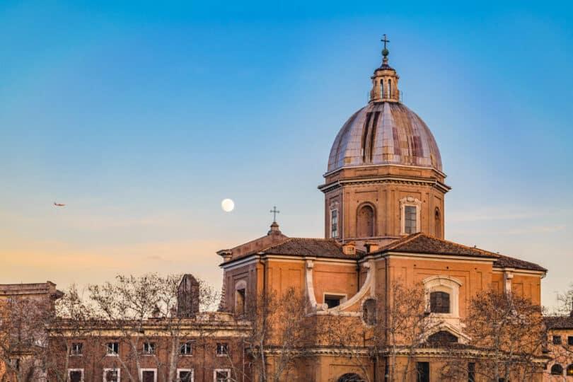 Exterior view of San Giovanni dei Fiorentini at Rome city, Italy