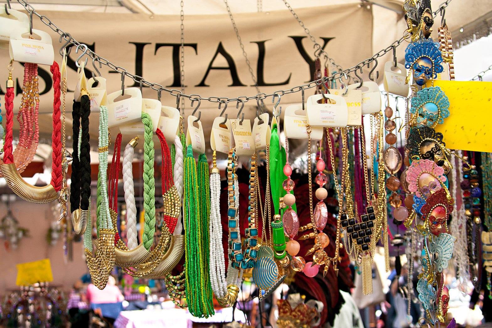 Fashion necklaces on the market Campo dei Fiori in Rome.