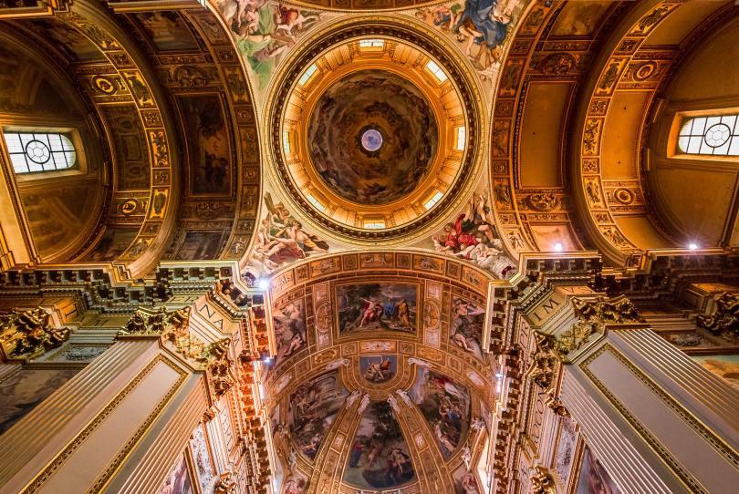 Interiors and architectural details of Sant'Andrea della Valle basilica, in Rome, Italy
