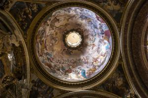 Interiors and architectural details of Sant'Ignazio Church, Rome, Italy