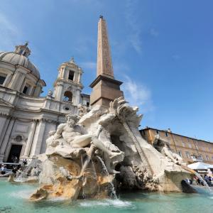 Italy, Rome Piazza Navona, the fountain of four rivers designed by G.L.Bernini.