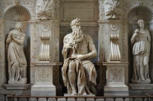 Marble group with statues of Moses, Michelangelo, St. Peter in Chains (Vincoli) , Rome, Italy