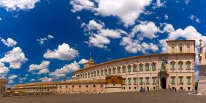 Panoramic view of Quirinal Palace as seen from Piazza del Quirinale in the sunny day, Rome, Italy.