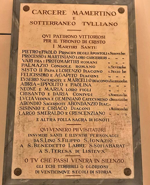 Plaque in Mamertine Prison - with the names of illustrious prisoners