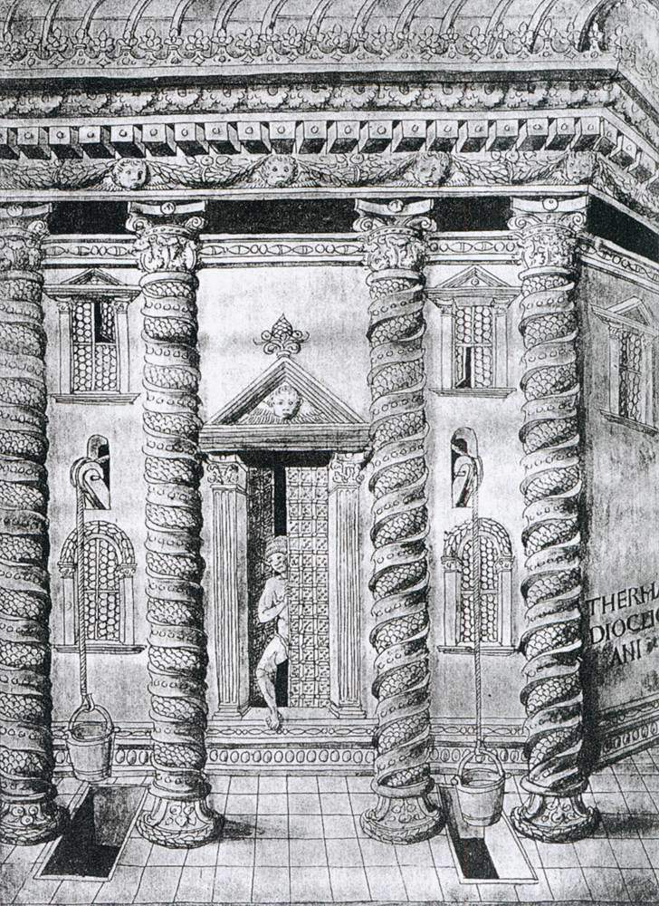 Reconstruction Drawing (by Giovanni Marcanova c. ) of the Bath of Diocletian, Rome.
