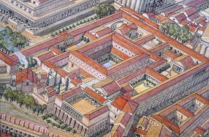 Reconstruction Sketch of Domus Tiberiana - Source J.C GOLVIN