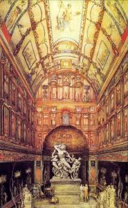 Reconstruction of the great hall of the Domus Aurea with the Laocoon, in a painting by G. Chedanne (nineteenth century). Musée des Beaux-Arts, Rouen.