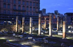 Rome. Panorama of the remains of the Forum of Caesar from the Campidoglio.