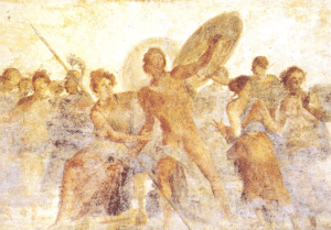 Scene at the centre of the vaidt in the Room of Achilles at Scyros.