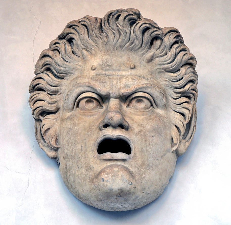 Sculpture of a Roman theatrical mask, from the Baths of Diocletian.