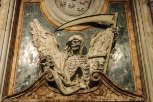 Sight of the angel of the death inside the church of Saint Peter in Vincoli in the historical center of Rome, Italy.