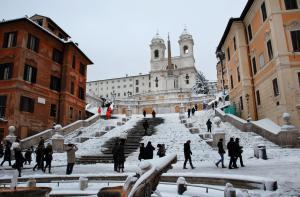 Spanish Steps covered by snow, a very rare event for a city like Rome