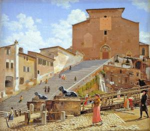 The Marble Steps leading to the Church of Santa Maria in Aracoeli in Rome' by Christoffer Eckersberg (Danish 1783-1853) Painted around 1816. In Statens Museum fur Kunst, Copenhagen.