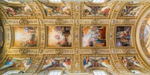 The ceiling of the main nave in the Basilica of Sant'Andrea della Valle in Rome, Italy.