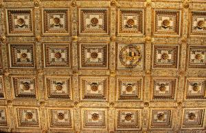 The coffered ceiling was completed at the turn of the 16th century, and gilded with some of the first gold to reach Europe from the New World.