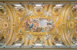 The painted vault by Pietro da Cortona, in the Church of Santa Maria in Vallicella (or Chiesa Nuova), in Rome, Italy