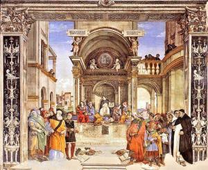 Triumph of Thomas Aquinas over the Heretics, Filippo Lippi, 1490, in the Carafa Chapel, Sta. Maria sopra Minerva, Rome.