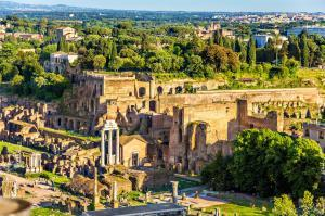 View of Domus Tiberiana from the Roman Forum - Rome, Italy.