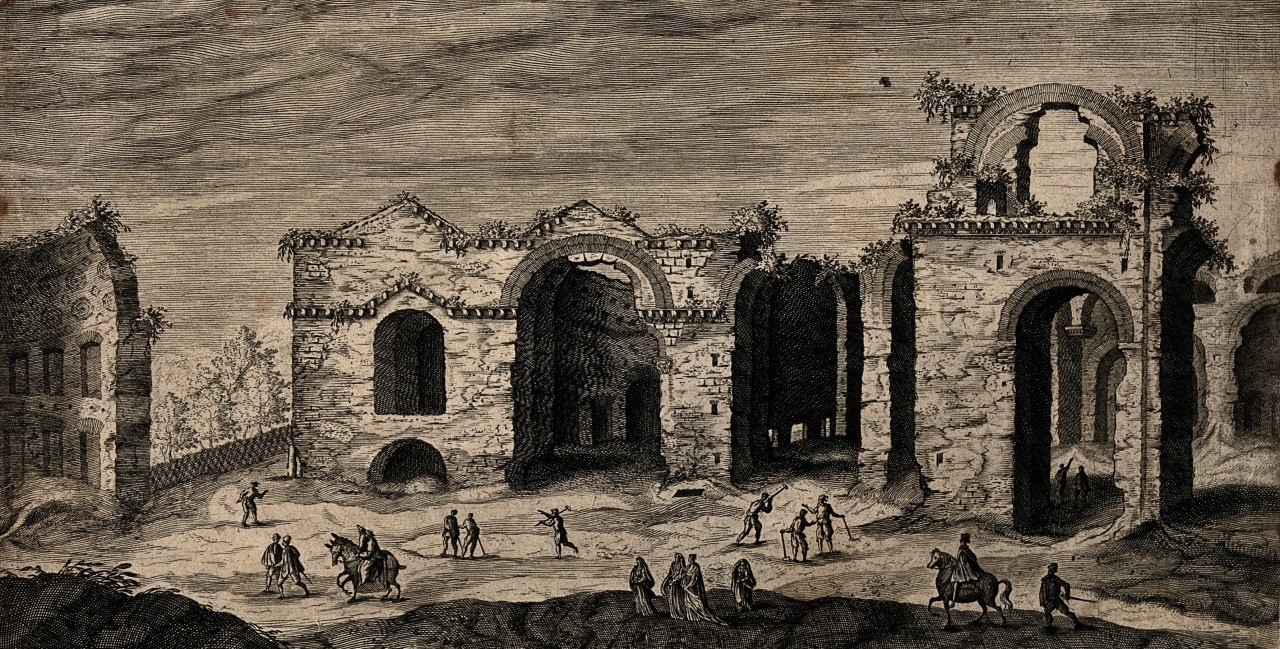 View of the Baths of Diocletian , Rome, 1575. Drawing by Etienne du Perac.