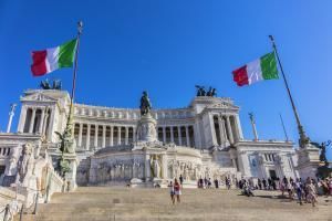 Tourists visiting National Monument to Victor Emmanuel II (Altare della Patria), built in honour of Victor Emmanuel - first king of a unified Italy.