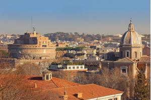 view of the historical center of Rome from the height of the Janiculum Hill, is one of the best locations in Rome for a scenic view of Rome with its domes and bell towers, Italy