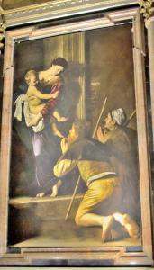 Caravaggio's Madonna dei Pellegrini, Basilica of Sant Agostino, Rome, Italy.