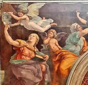 Detail from Raphael's Sibyls in Santa Maria della Pace, shoieing the influence of Michelangelo's Sistine Chapel frescoes