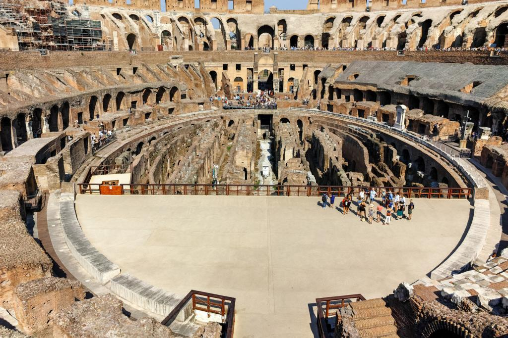 Colosseum Priority Entrance + Arena Floor, Roman Forum and Palatine Hill - Tourist visiting inside part of Colosseum in city of Rome, Italy