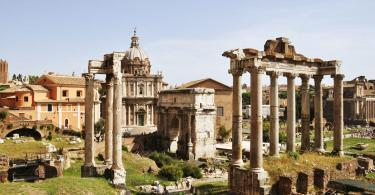 Colosseum & Roman Forum and Palatine Package - View of the roman ruins in Rome, Italy. - Temple of Saturn