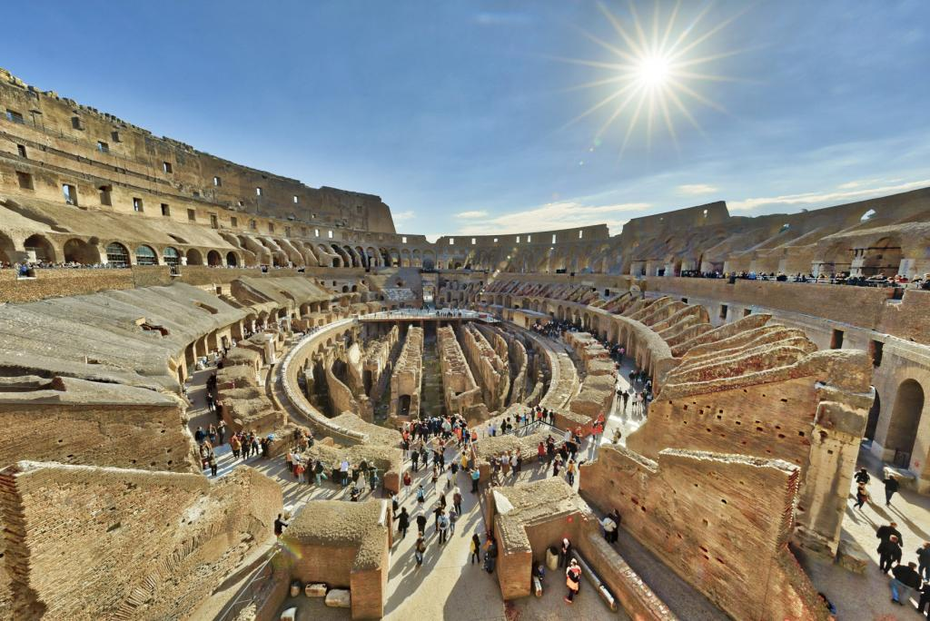 Colosseum and Ancient Rome Walking Tour- The Colosseum is seen from inside on October 31, 2017 in Rome, Italy. Rome is one of the most popular tourist destinations in the World.