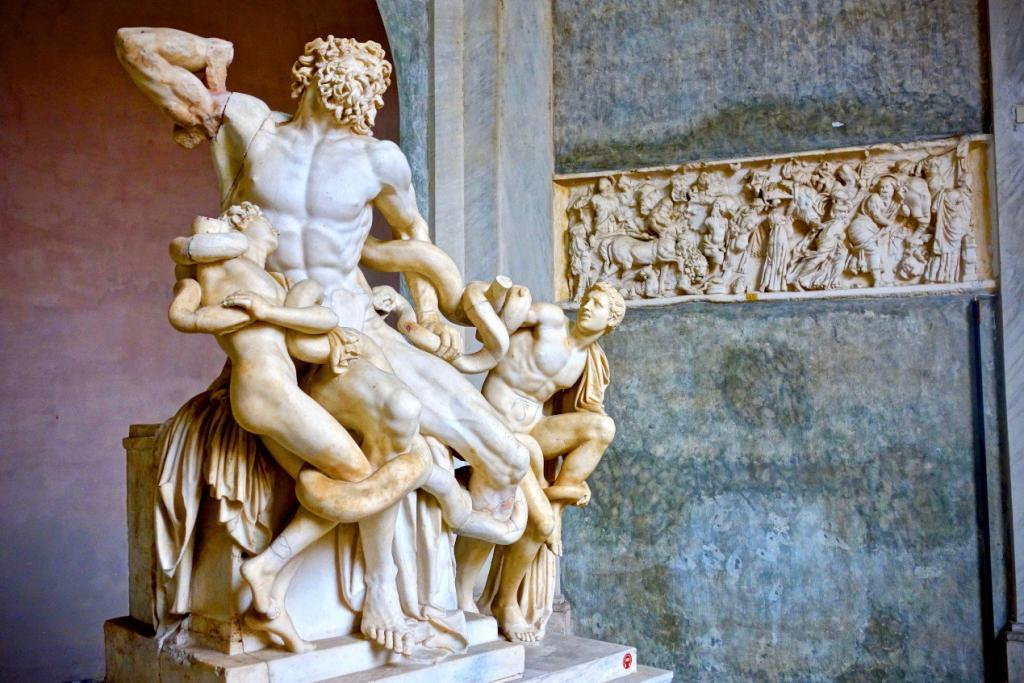 Early Entry Vatican Museums and Small-Group Tour with St. Peter's and Sistine Chapel - Lacoon sculpture front view. The Vatican museum, Rome, Italy