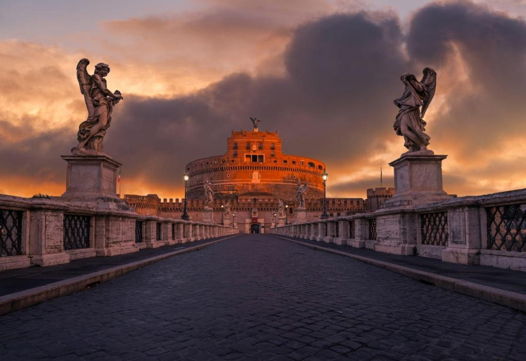 Ponte Sant'Angelo and Castel Sant'Angelo, Rome, Italy
