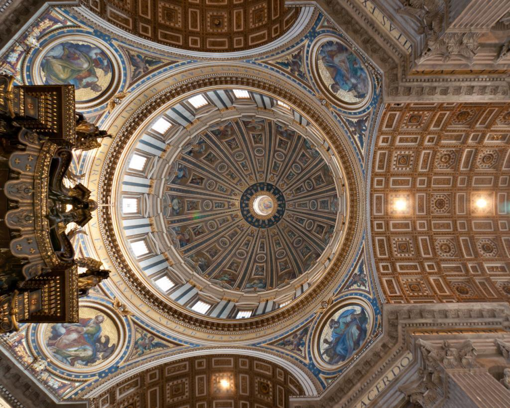 Vatican Museum, Sistine Chapel and St.Peter's Guided Tour - View at the ceil and cupola of the St' Peter's Basilica in Vatican