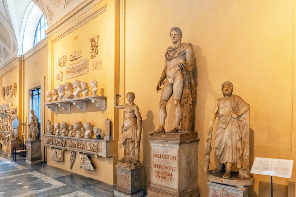 Vatican Museums and Sistine Chapel Fast -Track Entry - Inside the Vatican Museum, one of the largest museums in the world, Vatican. Gallery of ancient sculptures. Italy.