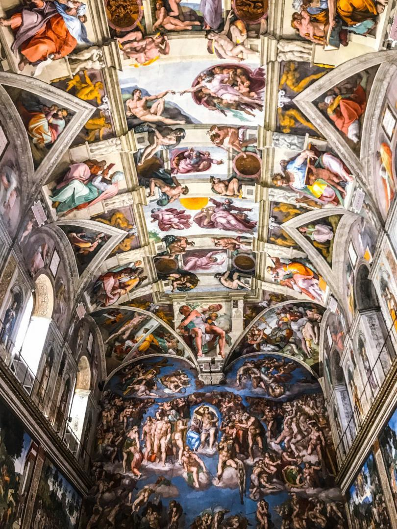 Vatican Museums and Sistine Chapel Fast -Track Entry - painting of the Last Judgment and Ceiling of the Sistine chapel in the Vatican Museum