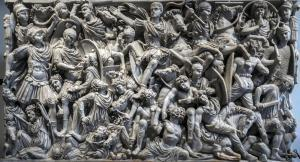 Ancient Roman Ludovisi Battle sarcophagus at Palazzo Altemps, dating to 260 AD, is known for its densely populated composition of the battle between Romans and Goths.