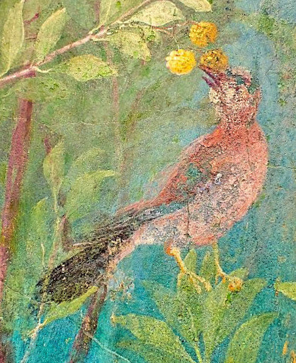 Bird, Roman fresco, garden from Villa Livia, Rome, 5th c. A.D