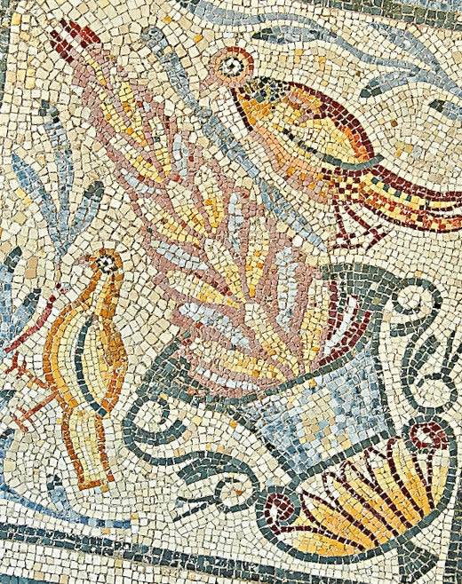Bird details from roman mosaic