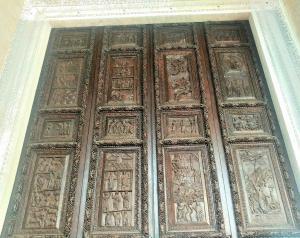 Carved wooden door of Santa Sabina