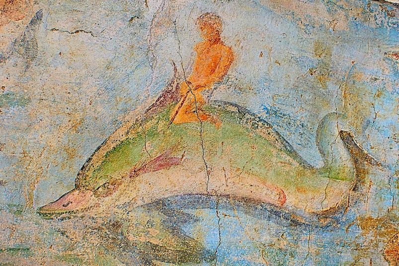 Detail, Fresco of marine life 1. c. A.D, National Roman Museum, Rome, Italy-2.