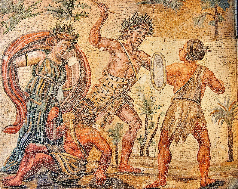 Floor mosaic depicting the struggle between Dionysus and the Indians. , 4th century AD. National Roman Museum, Rome, Italm