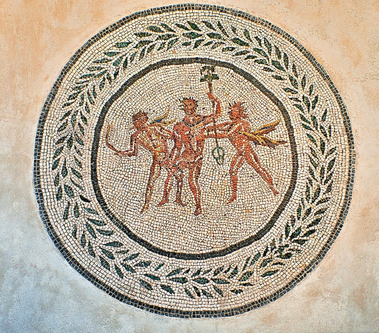 Floor mosaic with Dionysus and satyrs, Rome. 2nd century AD. National Roman Museum, Rome, Italy