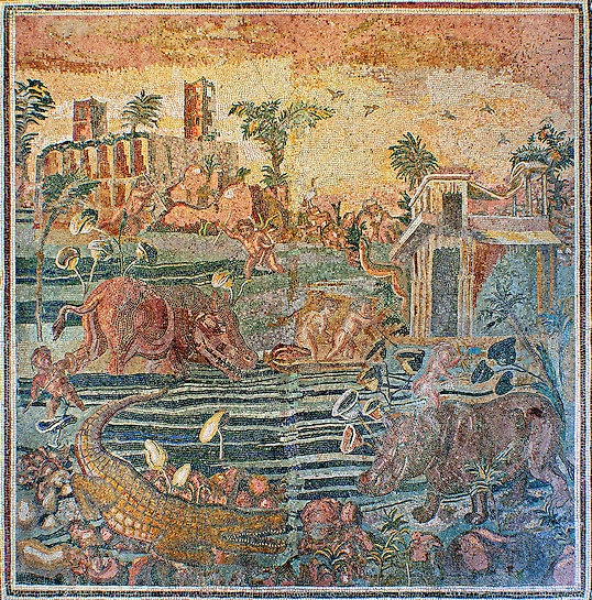 Floor mosaic with a Nile landscape ,2nd century AD. National Roman Museum, Rome, Italy