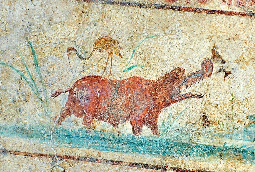 Fresco of a hippo and bird, 5th c. A.D, Rome, National Roman Museum.