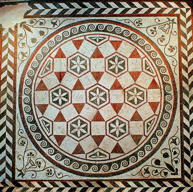 Geometric floor mosaic ,1st century AD. National Roman Museum, Rome, Italy